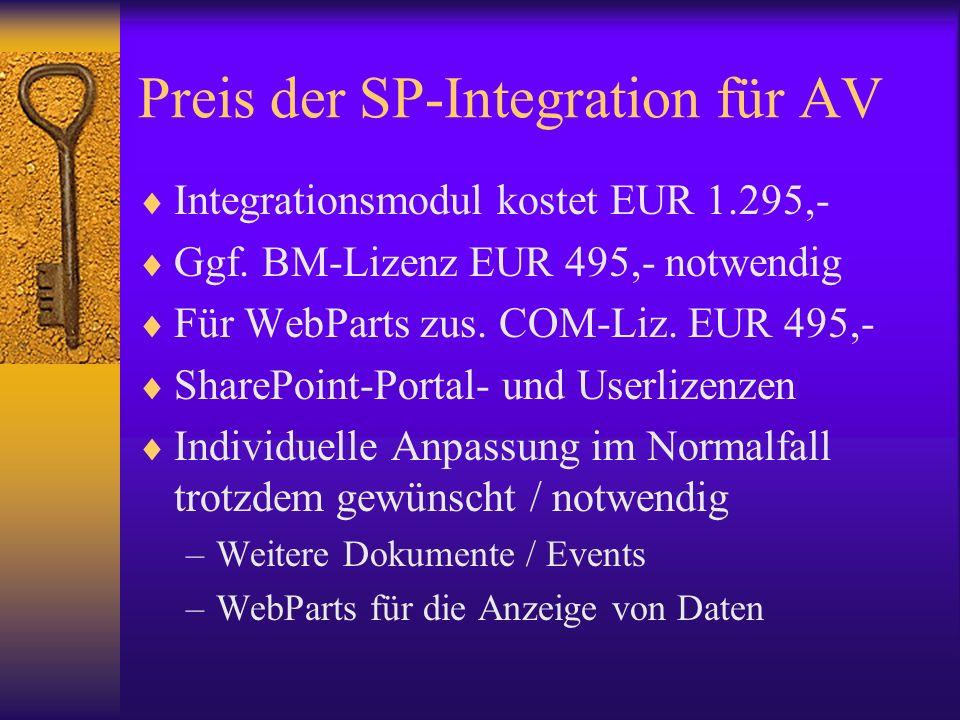 Preis der SP-Integration für AV Integrationsmodul kostet EUR 1.295,- Ggf. BM-Lizenz EUR 495,- notwendig Für WebParts zus. COM-Liz. EUR 495,- SharePoin