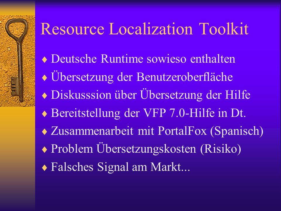 Resource Localization Toolkit Deutsche Runtime sowieso enthalten Übersetzung der Benutzeroberfläche Diskusssion über Übersetzung der Hilfe Bereitstellung der VFP 7.0-Hilfe in Dt.