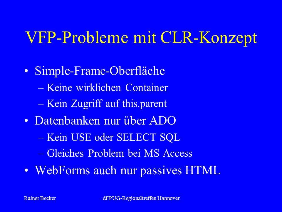 Rainer BeckerdFPUG-Regionaltreffen Hannover VFP-Probleme mit CLR-Konzept Simple-Frame-Oberfläche –Keine wirklichen Container –Kein Zugriff auf this.parent Datenbanken nur über ADO –Kein USE oder SELECT SQL –Gleiches Problem bei MS Access WebForms auch nur passives HTML