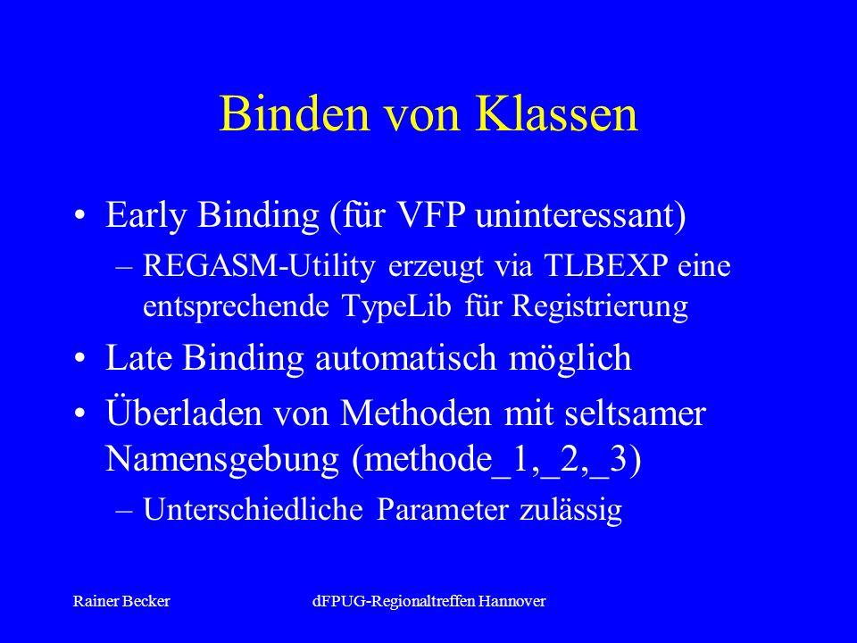 Rainer BeckerdFPUG-Regionaltreffen Hannover Binden von Klassen Early Binding (für VFP uninteressant) –REGASM-Utility erzeugt via TLBEXP eine entsprechende TypeLib für Registrierung Late Binding automatisch möglich Überladen von Methoden mit seltsamer Namensgebung (methode_1,_2,_3) –Unterschiedliche Parameter zulässig