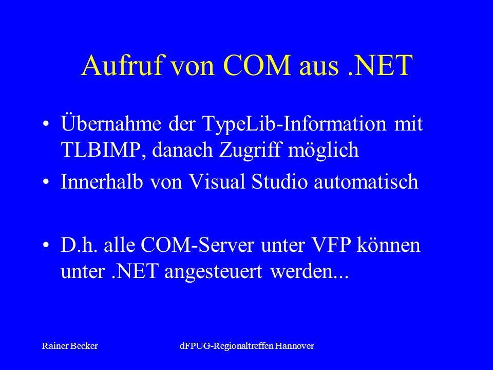 Rainer BeckerdFPUG-Regionaltreffen Hannover Aufruf von COM aus.NET Übernahme der TypeLib-Information mit TLBIMP, danach Zugriff möglich Innerhalb von Visual Studio automatisch D.h.