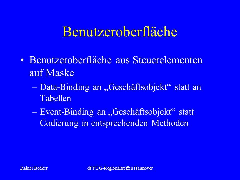 Rainer BeckerdFPUG-Regionaltreffen Hannover Benutzeroberfläche Benutzeroberfläche aus Steuerelementen auf Maske –Data-Binding an Geschäftsobjekt statt an Tabellen –Event-Binding an Geschäftsobjekt statt Codierung in entsprechenden Methoden