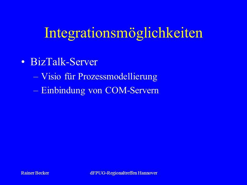 Rainer BeckerdFPUG-Regionaltreffen Hannover Integrationsmöglichkeiten BizTalk-Server –Visio für Prozessmodellierung –Einbindung von COM-Servern