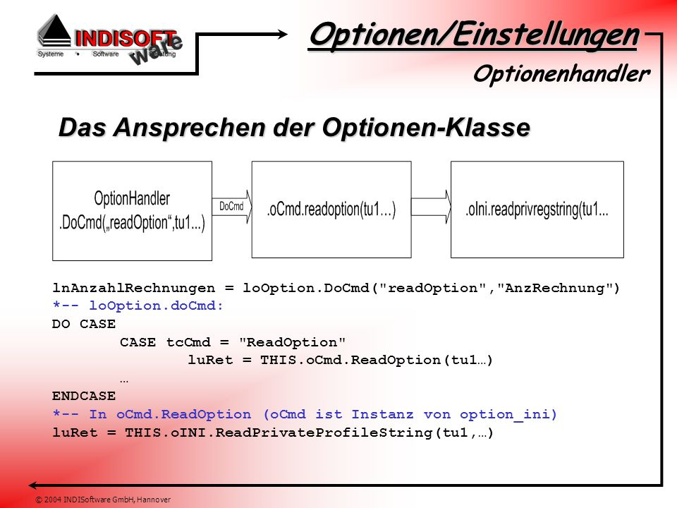 Optionen/Einstellungen © 2004 INDISoftware GmbH, Hannover Das Ansprechen der Optionen-Klasse Optionenhandler lnAnzahlRechnungen = loOption.DoCmd( readOption , AnzRechnung ) *-- loOption.doCmd: DO CASE CASE tcCmd = ReadOption luRet = THIS.oCmd.ReadOption(tu1…) … ENDCASE *-- In oCmd.ReadOption (oCmd ist Instanz von option_ini) luRet = THIS.oINI.ReadPrivateProfileString(tu1,…)