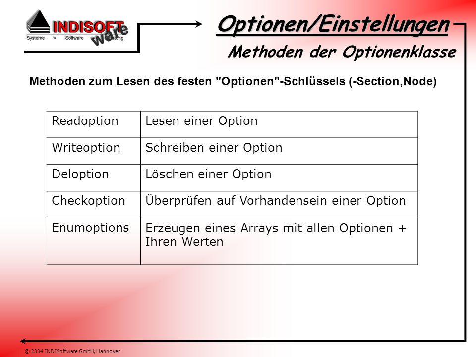 Optionen/Einstellungen © 2004 INDISoftware GmbH, Hannover Methoden der Optionenklasse Methoden zum Lesen eines variablen (User)-Schlüssels (-Section,Node) ReadUseroptionLesen einer Option WriteUseroptionSchreiben einer Option DelUseroptionLöschen einer Option CheckUseroptionÜberprüfen auf Vorhandensein einer Option EnumUseroptionsErzeugen eines Arrays mit allen Optionen + Ihren Werten