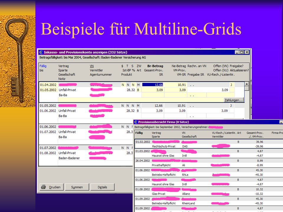Beispiele für Multiline-Grids