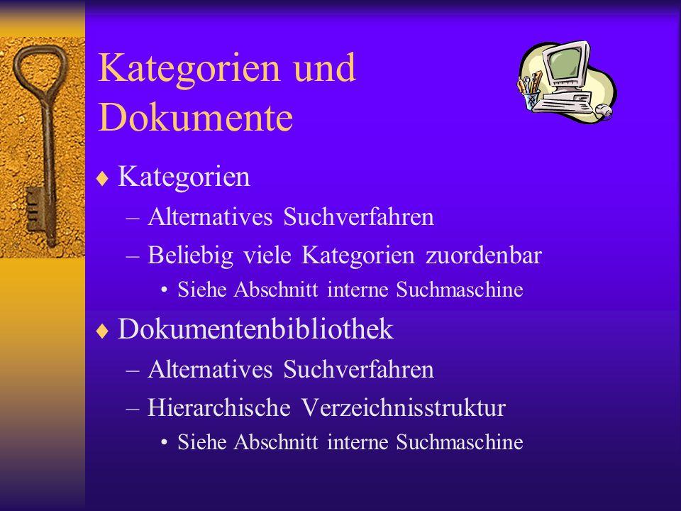 Kategorien und Dokumente Kategorien –Alternatives Suchverfahren –Beliebig viele Kategorien zuordenbar Siehe Abschnitt interne Suchmaschine Dokumentenb