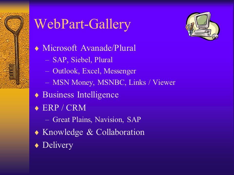 WebPart-Gallery Microsoft Avanade/Plural –SAP, Siebel, Plural –Outlook, Excel, Messenger –MSN Money, MSNBC, Links / Viewer Business Intelligence ERP /