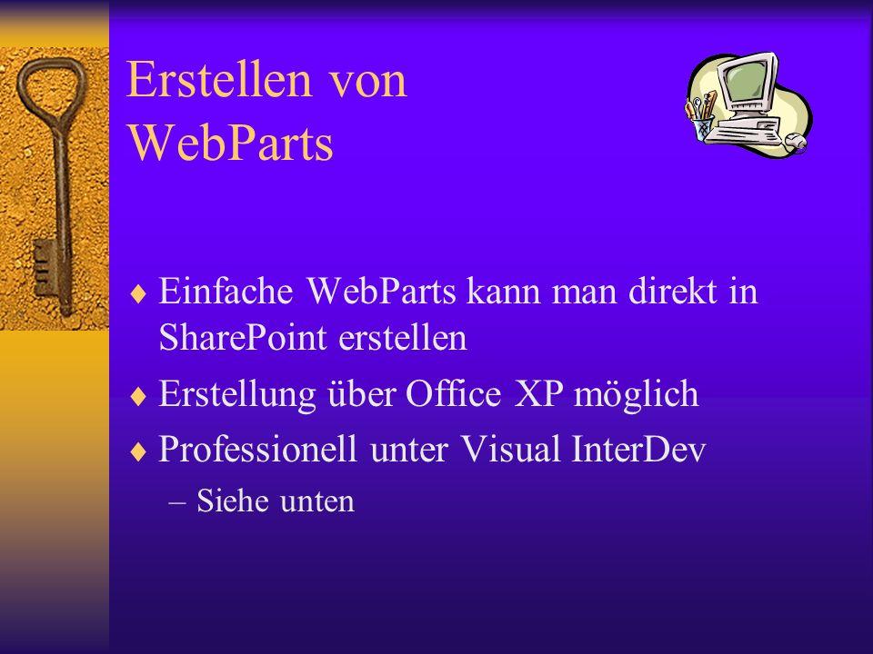Erstellen von WebParts Einfache WebParts kann man direkt in SharePoint erstellen Erstellung über Office XP möglich Professionell unter Visual InterDev