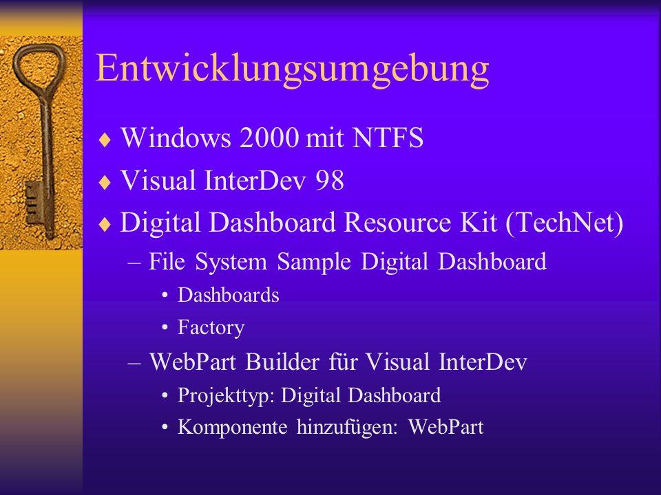 Entwicklungsumgebung Windows 2000 mit NTFS Visual InterDev 98 Digital Dashboard Resource Kit (TechNet) –File System Sample Digital Dashboard Dashboard