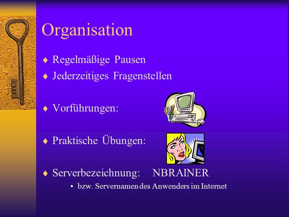 Organisation Regelmäßige Pausen Jederzeitiges Fragenstellen Vorführungen: Praktische Übungen: Serverbezeichnung: NBRAINER bzw. Servernamen des Anwende