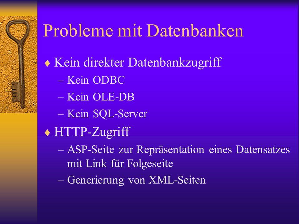 Probleme mit Datenbanken Kein direkter Datenbankzugriff –Kein ODBC –Kein OLE-DB –Kein SQL-Server HTTP-Zugriff –ASP-Seite zur Repräsentation eines Date
