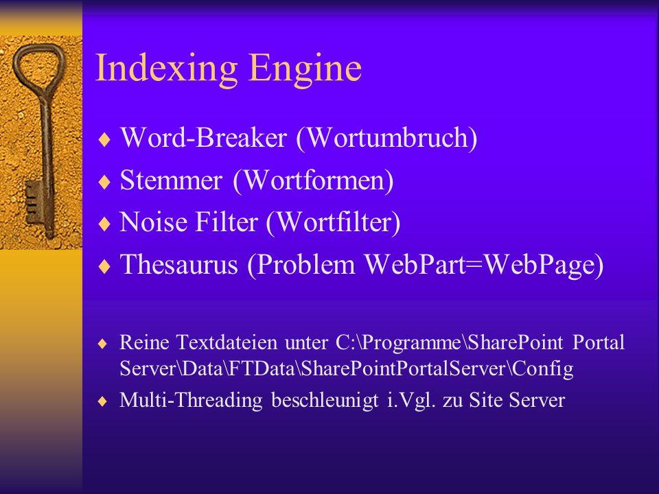 Indexing Engine Word-Breaker (Wortumbruch) Stemmer (Wortformen) Noise Filter (Wortfilter) Thesaurus (Problem WebPart=WebPage) Reine Textdateien unter