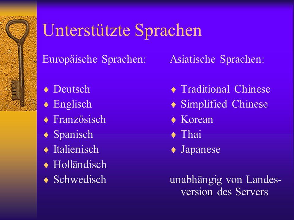 Unterstützte Sprachen Europäische Sprachen: Deutsch Englisch Französisch Spanisch Italienisch Holländisch Schwedisch Asiatische Sprachen: Traditional