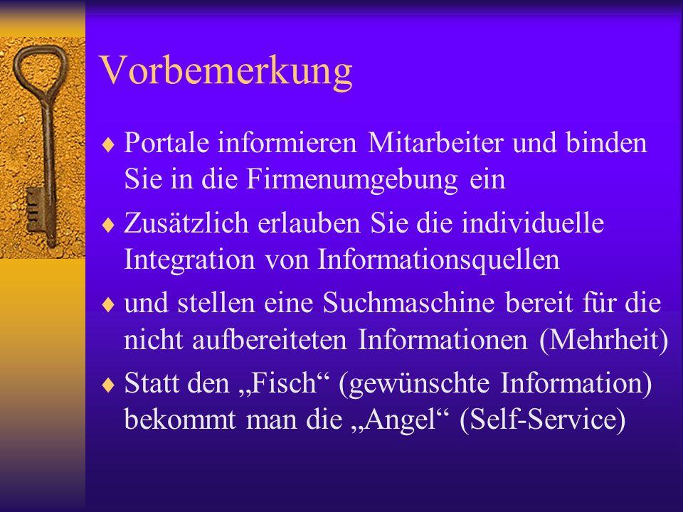 Vorbemerkung Portale informieren Mitarbeiter und binden Sie in die Firmenumgebung ein Zusätzlich erlauben Sie die individuelle Integration von Informa