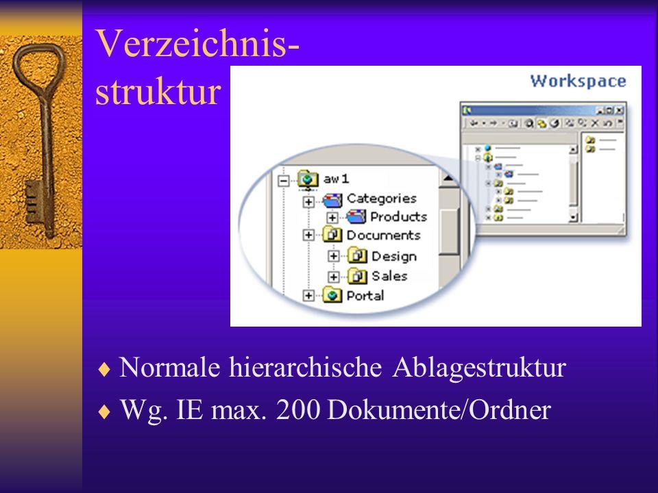 Verzeichnis- struktur Normale hierarchische Ablagestruktur Wg. IE max. 200 Dokumente/Ordner