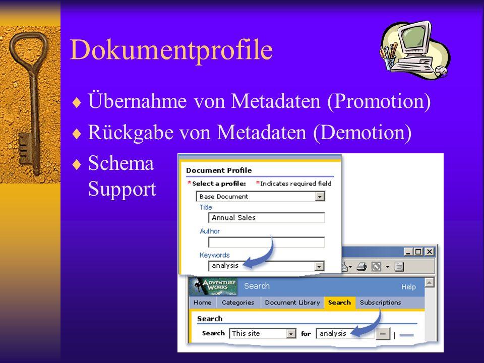 Dokumentprofile Übernahme von Metadaten (Promotion) Rückgabe von Metadaten (Demotion) Schema Support