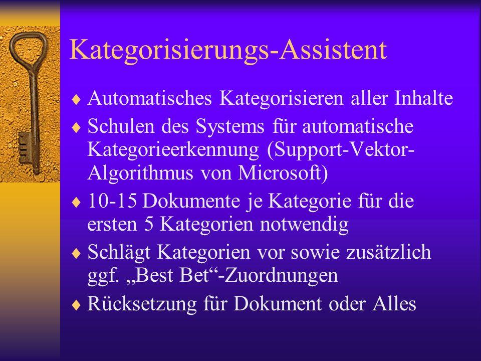 Kategorisierungs-Assistent Automatisches Kategorisieren aller Inhalte Schulen des Systems für automatische Kategorieerkennung (Support-Vektor- Algorit