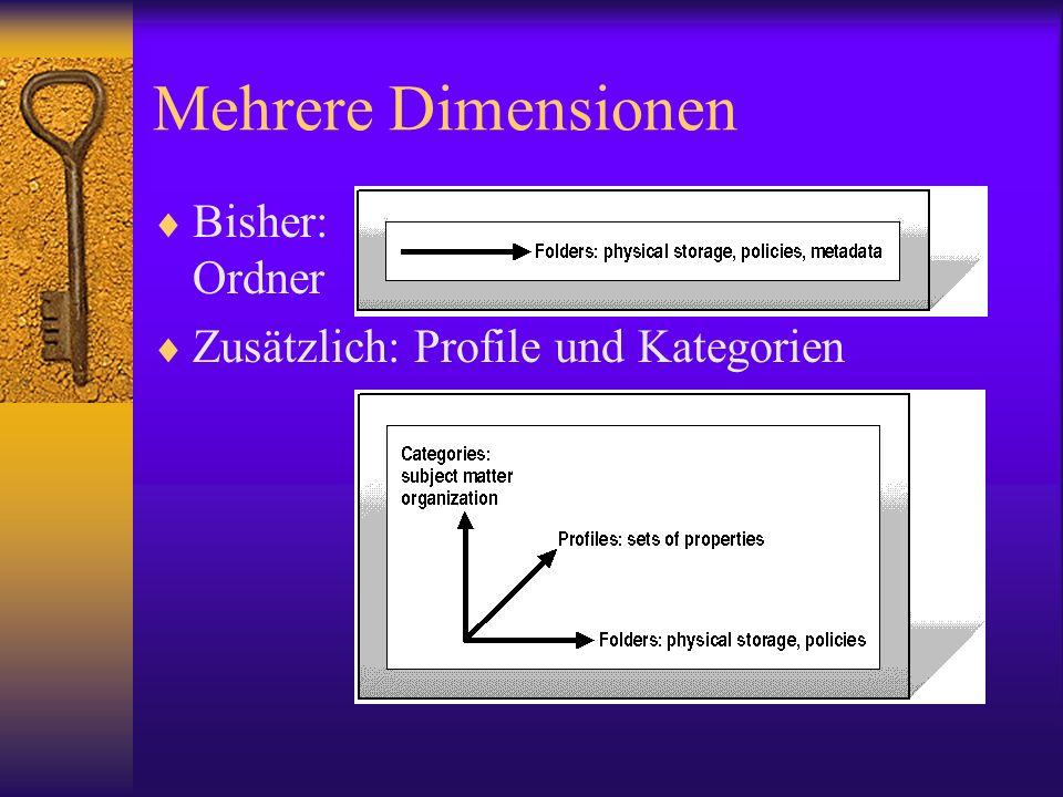 Mehrere Dimensionen Bisher: Ordner Zusätzlich: Profile und Kategorien