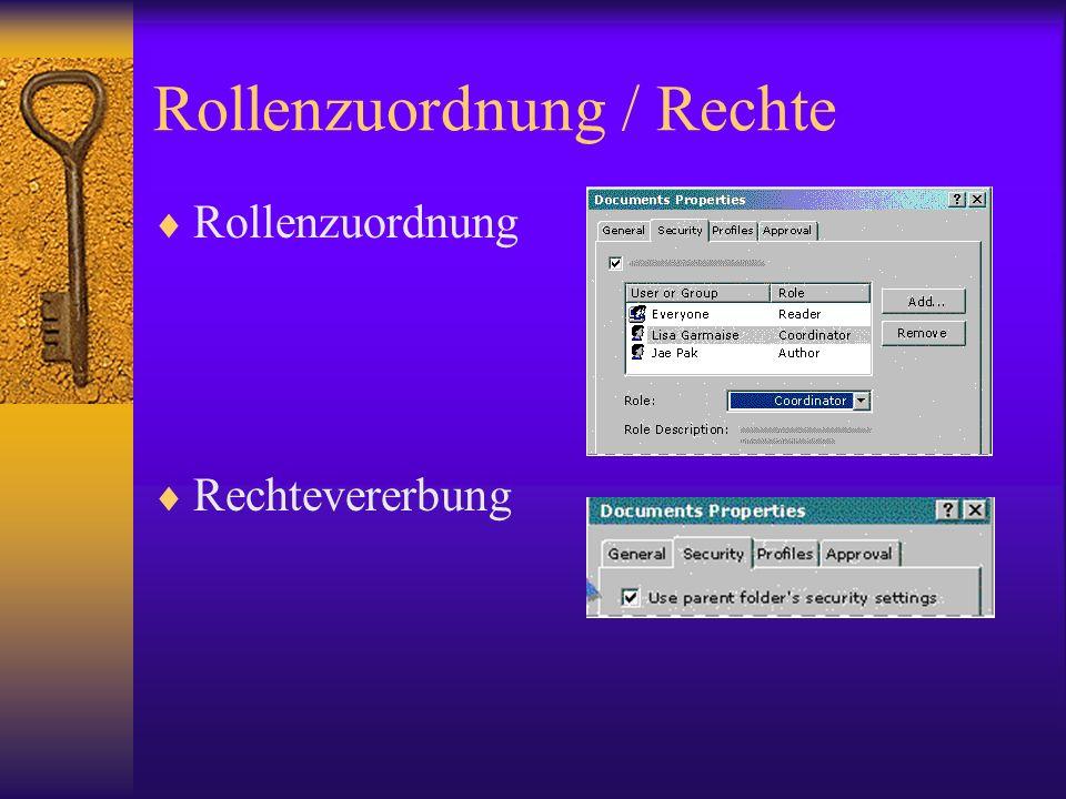 Rollenzuordnung / Rechte Rollenzuordnung Rechtevererbung