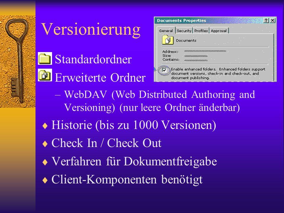 Versionierung Standardordner Erweiterte Ordner –WebDAV (Web Distributed Authoring and Versioning) (nur leere Ordner änderbar) Historie (bis zu 1000 Ve
