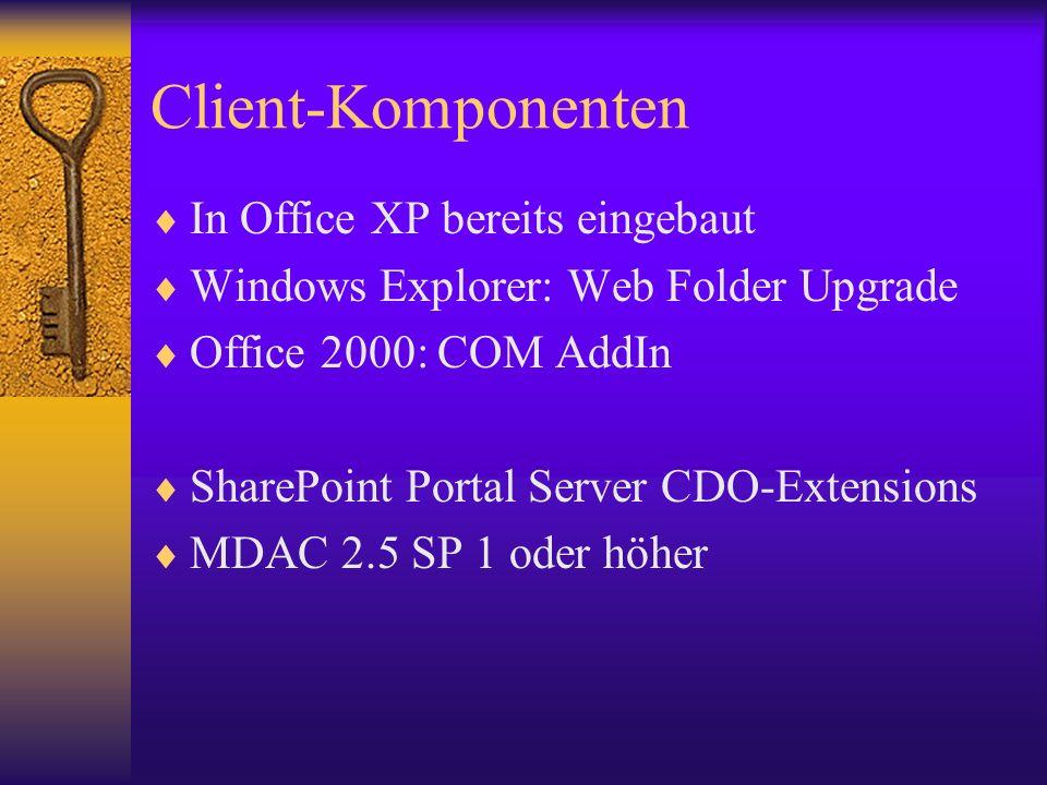 Client-Komponenten In Office XP bereits eingebaut Windows Explorer: Web Folder Upgrade Office 2000: COM AddIn SharePoint Portal Server CDO-Extensions
