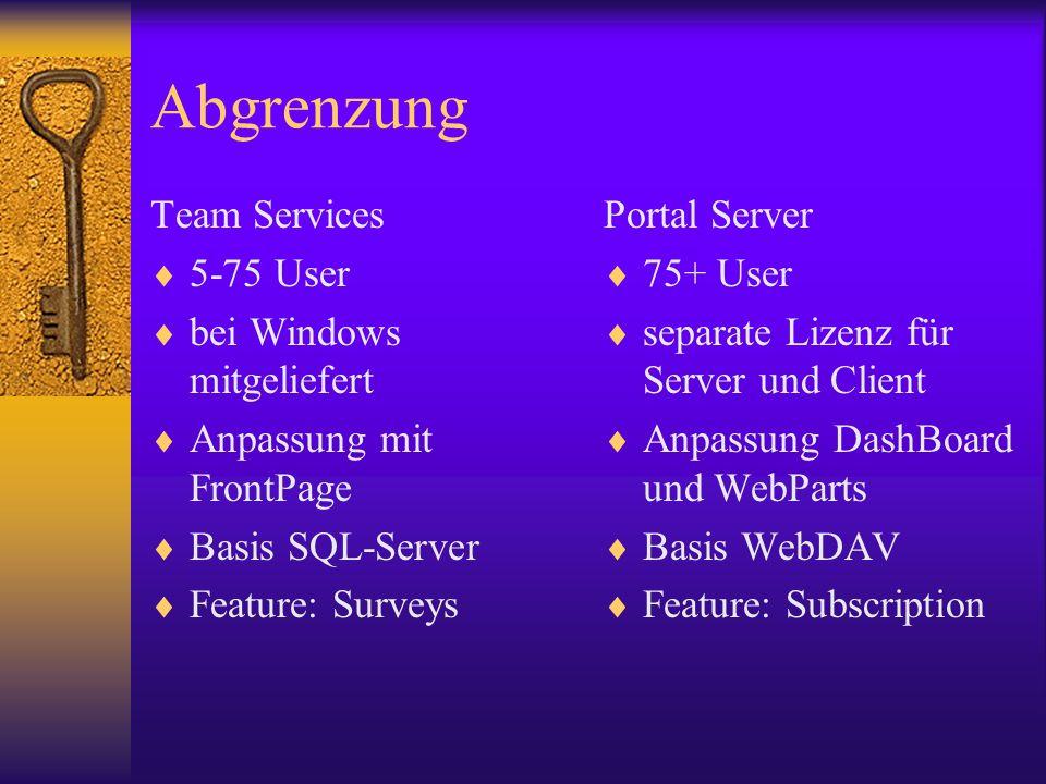 Abgrenzung Team Services 5-75 User bei Windows mitgeliefert Anpassung mit FrontPage Basis SQL-Server Feature: Surveys Portal Server 75+ User separate