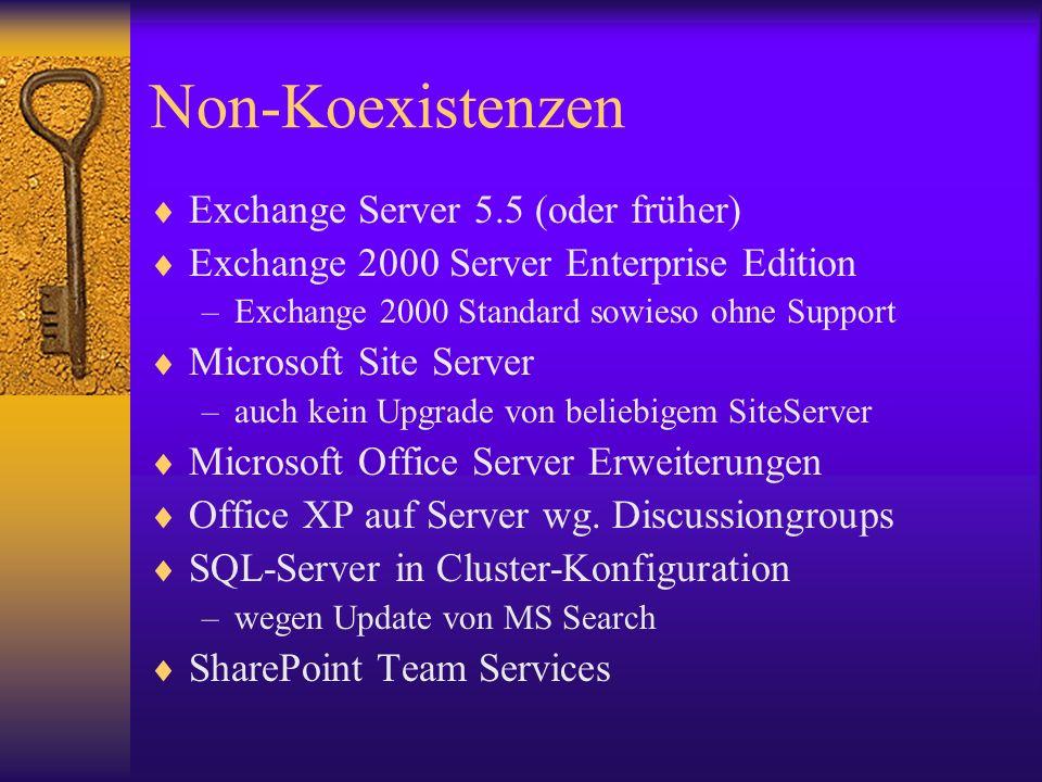 Non-Koexistenzen Exchange Server 5.5 (oder früher) Exchange 2000 Server Enterprise Edition –Exchange 2000 Standard sowieso ohne Support Microsoft Site