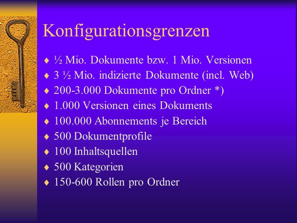 Konfigurationsgrenzen ½ Mio. Dokumente bzw. 1 Mio. Versionen 3 ½ Mio. indizierte Dokumente (incl. Web) 200-3.000 Dokumente pro Ordner *) 1.000 Version