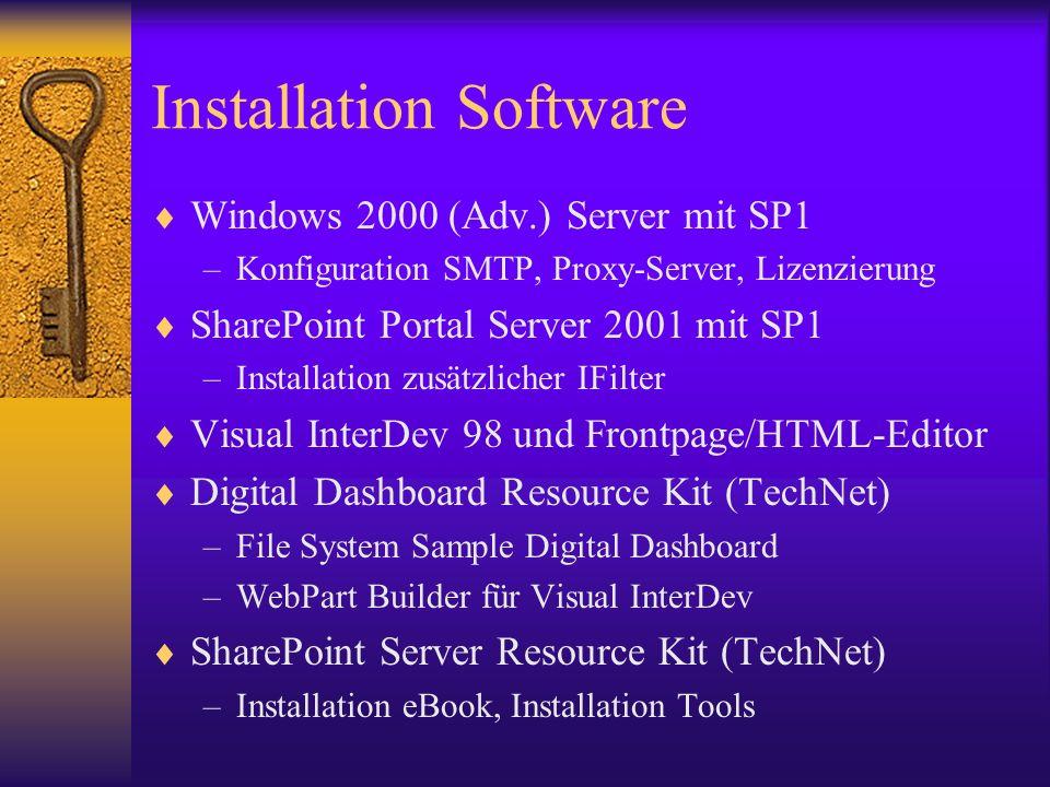 Installation Software Windows 2000 (Adv.) Server mit SP1 –Konfiguration SMTP, Proxy-Server, Lizenzierung SharePoint Portal Server 2001 mit SP1 –Instal