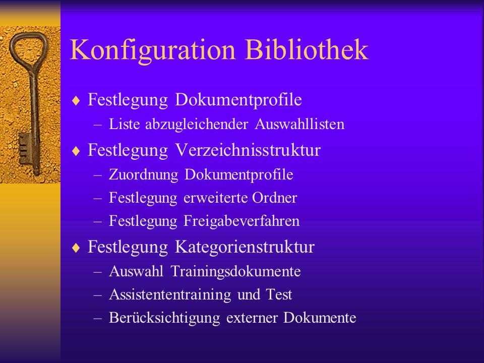 Konfiguration Bibliothek Festlegung Dokumentprofile –Liste abzugleichender Auswahllisten Festlegung Verzeichnisstruktur –Zuordnung Dokumentprofile –Fe