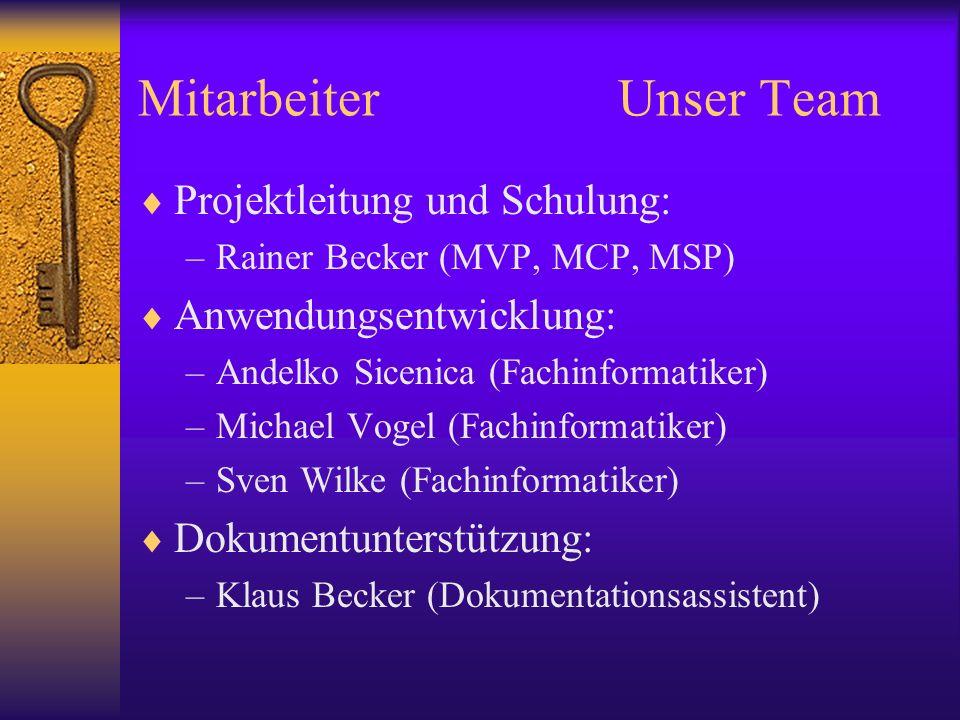 MitarbeiterUnser Team Projektleitung und Schulung: –Rainer Becker (MVP, MCP, MSP) Anwendungsentwicklung: –Andelko Sicenica (Fachinformatiker) –Michael