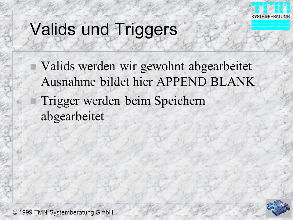 © 1999 TMN-Systemberatung GmbH Valids und Triggers n Valids werden wir gewohnt abgearbeitet Ausnahme bildet hier APPEND BLANK n Trigger werden beim Speichern abgearbeitet