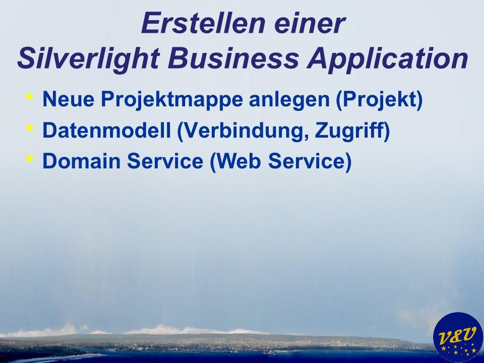 Erstellen einer Silverlight Business Application * Neue Projektmappe anlegen (Projekt) * Datenmodell (Verbindung, Zugriff) * Domain Service (Web Service)