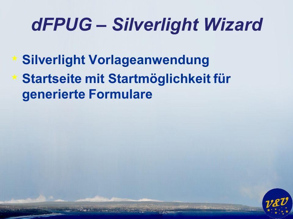 dFPUG – Silverlight Wizard * Silverlight Vorlageanwendung * Startseite mit Startmöglichkeit für generierte Formulare