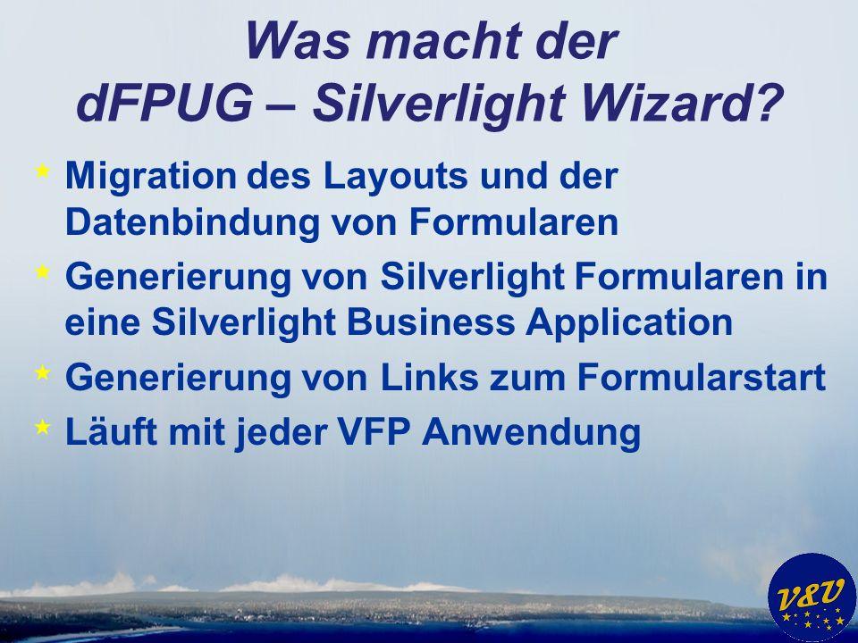 Was macht der dFPUG – Silverlight Wizard.