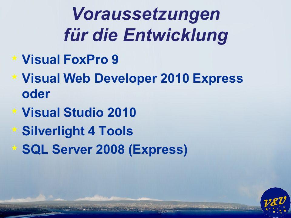 Voraussetzungen für die Entwicklung * Visual FoxPro 9 * Visual Web Developer 2010 Express oder * Visual Studio 2010 * Silverlight 4 Tools * SQL Server 2008 (Express)