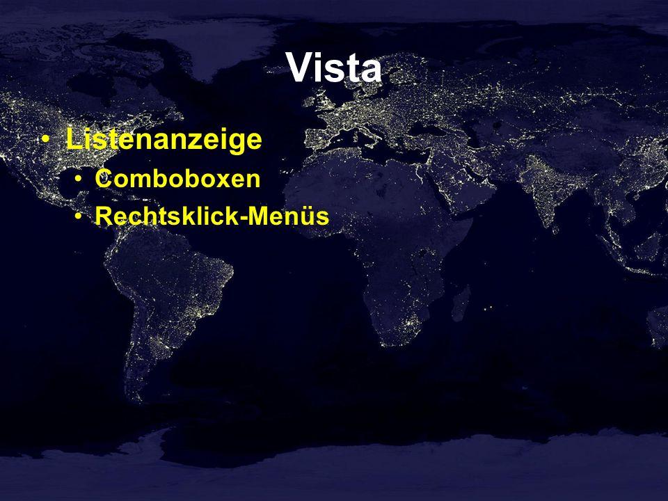 Vista Listenanzeige Comboboxen Rechtsklick-Menüs