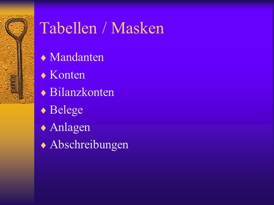 Tabellen / Masken Mandanten Konten Bilanzkonten Belege Anlagen Abschreibungen