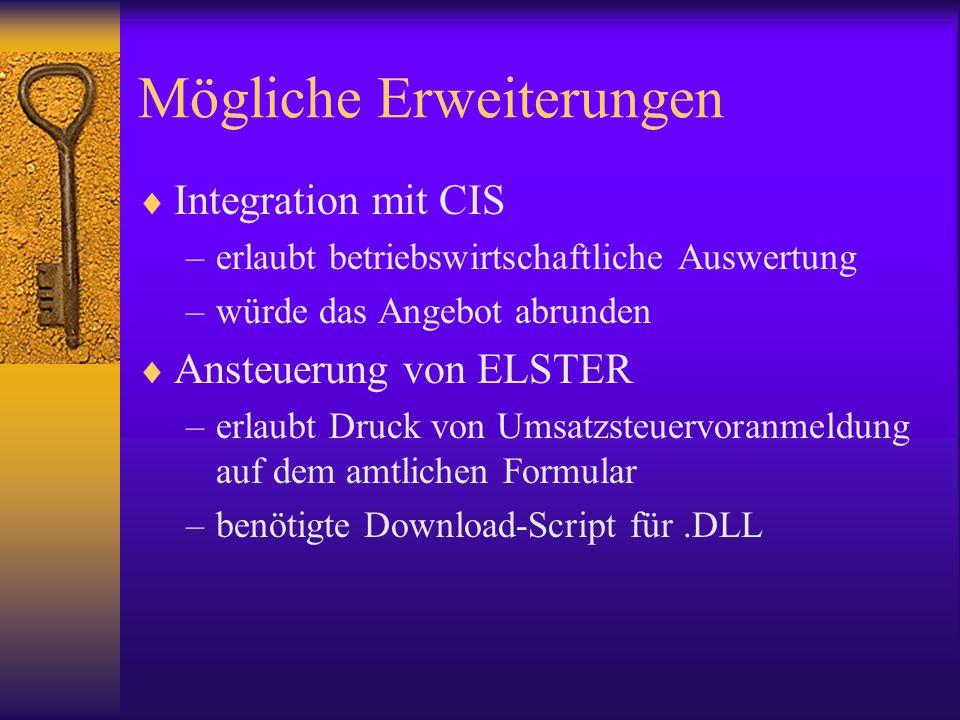 Mögliche Erweiterungen Integration mit CIS –erlaubt betriebswirtschaftliche Auswertung –würde das Angebot abrunden Ansteuerung von ELSTER –erlaubt Druck von Umsatzsteuervoranmeldung auf dem amtlichen Formular –benötigte Download-Script für.DLL