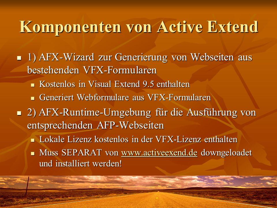 Komponenten von Active Extend 1) AFX-Wizard zur Generierung von Webseiten aus bestehenden VFX-Formularen 1) AFX-Wizard zur Generierung von Webseiten a