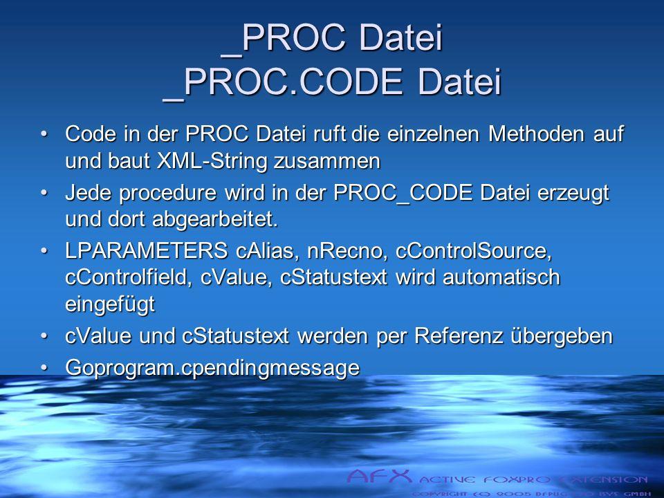 _PROC Datei _PROC.CODE Datei Code in der PROC Datei ruft die einzelnen Methoden auf und baut XML-String zusammenCode in der PROC Datei ruft die einzelnen Methoden auf und baut XML-String zusammen Jede procedure wird in der PROC_CODE Datei erzeugt und dort abgearbeitet.Jede procedure wird in der PROC_CODE Datei erzeugt und dort abgearbeitet.