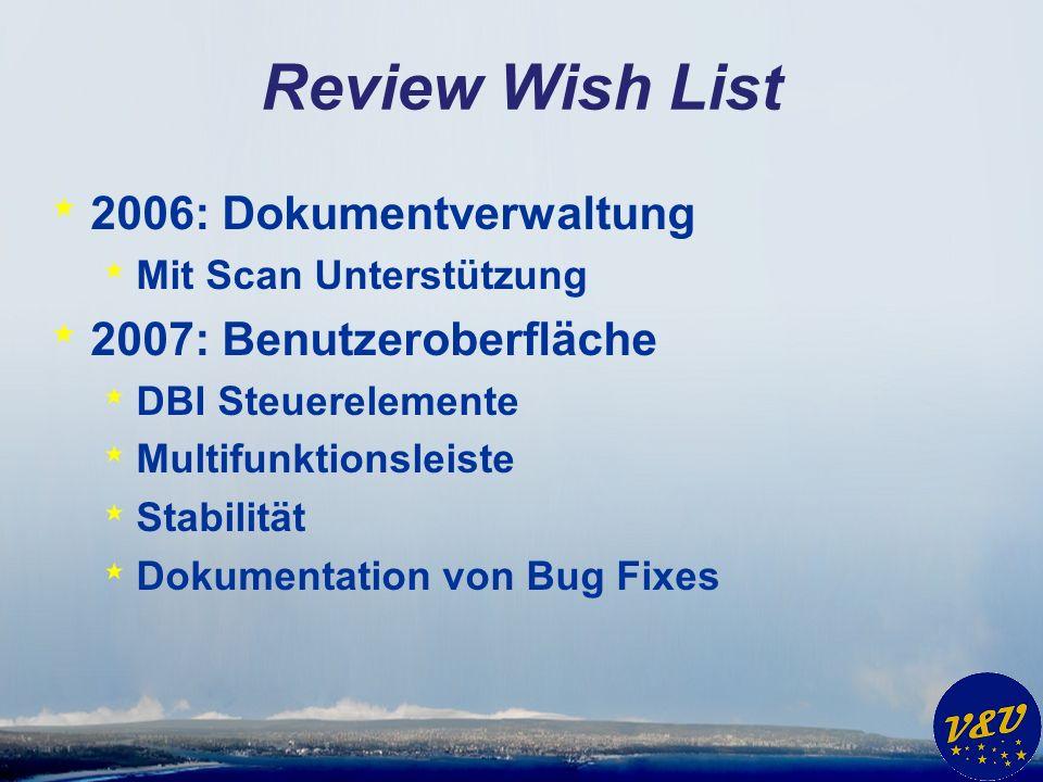 Review Wish List * 2006: Dokumentverwaltung * Mit Scan Unterstützung * 2007: Benutzeroberfläche * DBI Steuerelemente * Multifunktionsleiste * Stabilität * Dokumentation von Bug Fixes