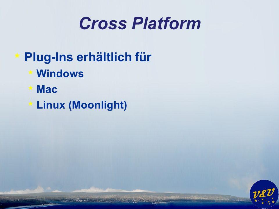 Cross Platform * Plug-Ins erhältlich für * Windows * Mac * Linux (Moonlight)