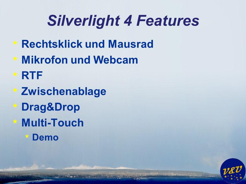 Silverlight 4 Features * Rechtsklick und Mausrad * Mikrofon und Webcam * RTF * Zwischenablage * Drag&Drop * Multi-Touch * Demo