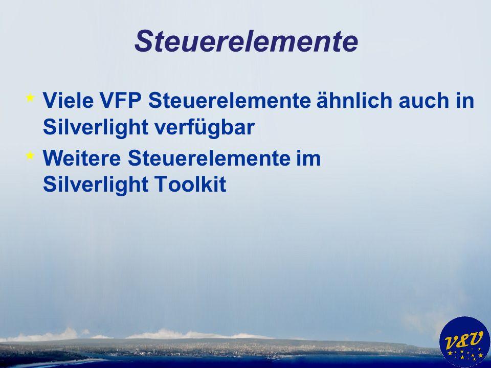 Steuerelemente * Viele VFP Steuerelemente ähnlich auch in Silverlight verfügbar * Weitere Steuerelemente im Silverlight Toolkit
