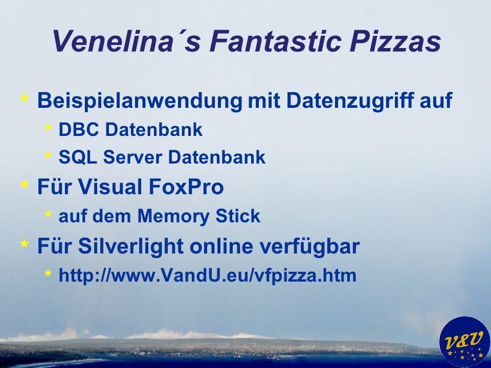 Venelina´s Fantastic Pizzas * Beispielanwendung mit Datenzugriff auf * DBC Datenbank * SQL Server Datenbank * Für Visual FoxPro * auf dem Memory Stick * Für Silverlight online verfügbar * http://www.VandU.eu/vfpizza.htm
