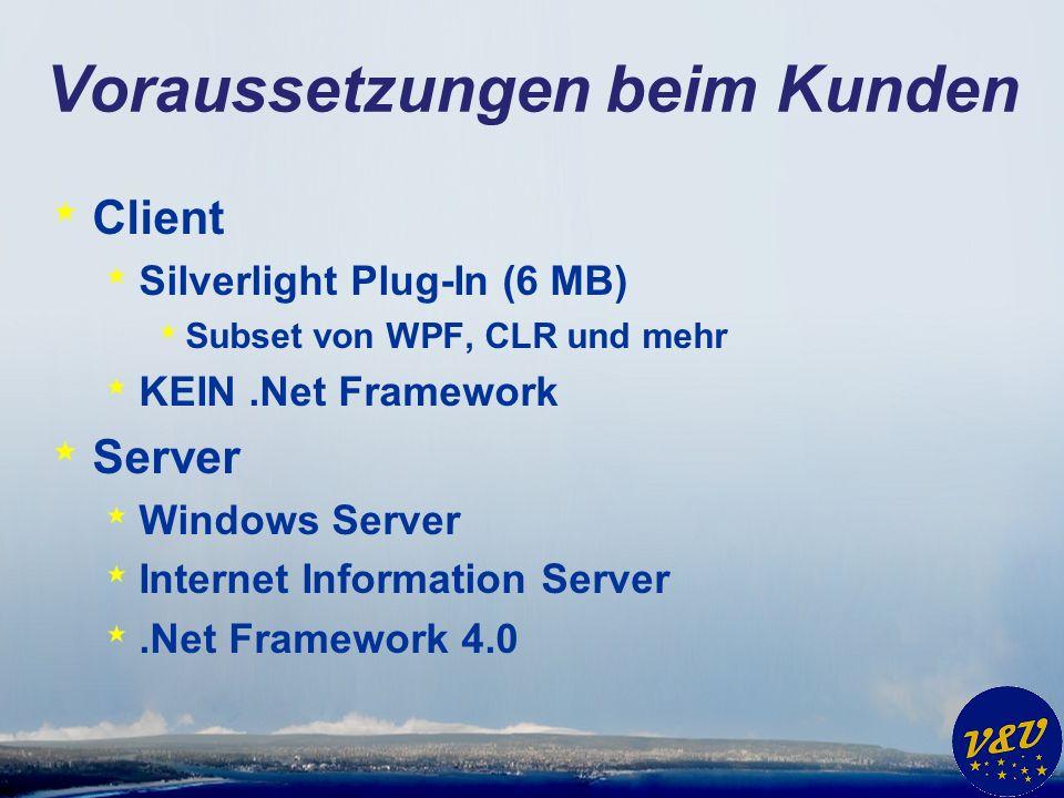 Voraussetzungen beim Kunden * Client * Silverlight Plug-In (6 MB) * Subset von WPF, CLR und mehr * KEIN.Net Framework * Server * Windows Server * Internet Information Server *.Net Framework 4.0