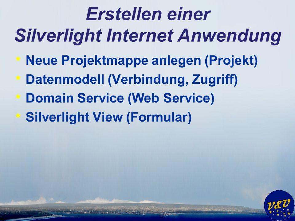 Erstellen einer Silverlight Internet Anwendung * Neue Projektmappe anlegen (Projekt) * Datenmodell (Verbindung, Zugriff) * Domain Service (Web Service) * Silverlight View (Formular)