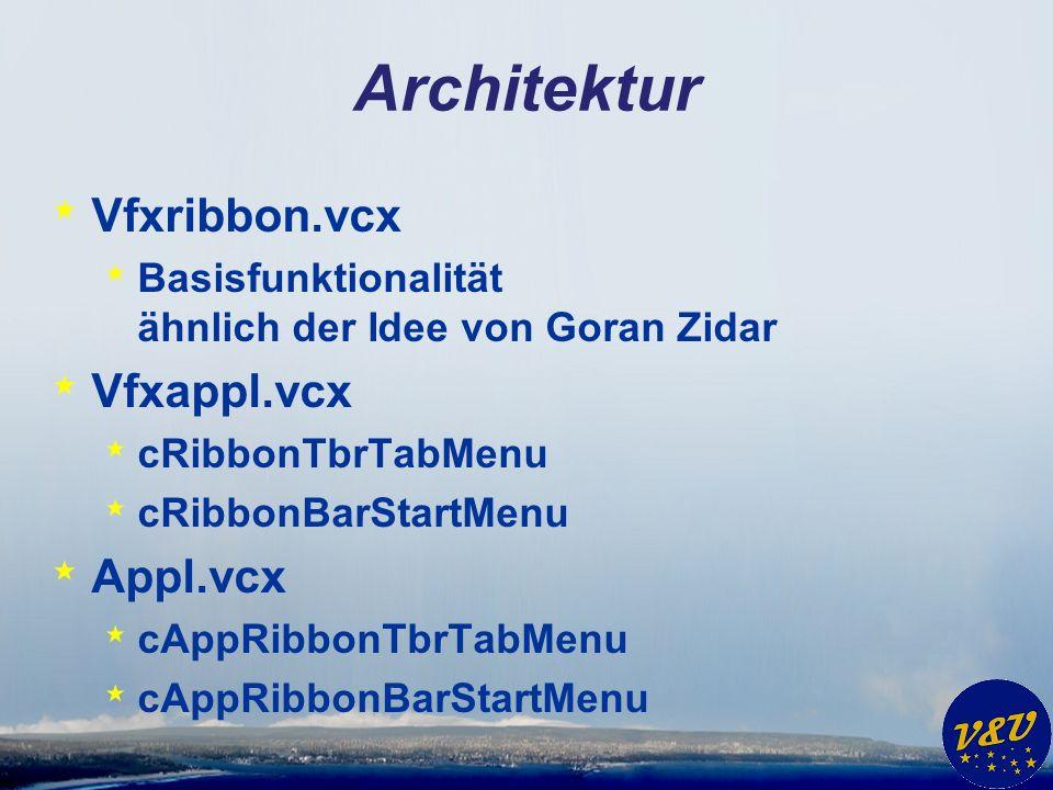 Architektur * Vfxribbon.vcx * Basisfunktionalität ähnlich der Idee von Goran Zidar * Vfxappl.vcx * cRibbonTbrTabMenu * cRibbonBarStartMenu * Appl.vcx * cAppRibbonTbrTabMenu * cAppRibbonBarStartMenu